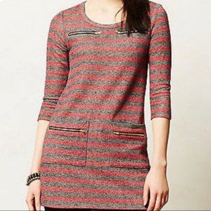 Anthro Postmark Red and Gray Striped Tunic